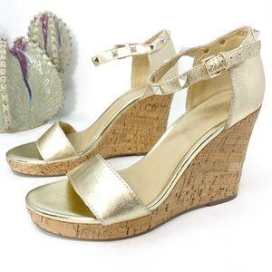 Marc Fisher Gold Studded Karyna Cork Sandal Wedges